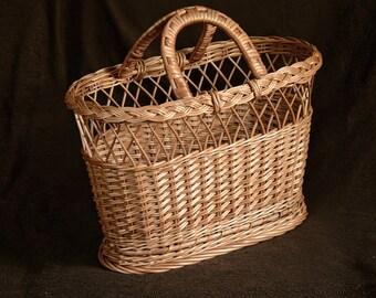 "17 "" Wicker Handbag, Handmade Willow Bag, Wicker Bag,Wicker Purse,Handwoven Willow Purse,Basket Purse, Basket Handbag,Basket Bag,Basket Tote"