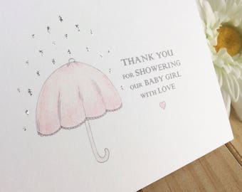 Baby Girl Shower Thank You Card Set, Pink Umbrella Shower Cards, Set of 10, Illustrated Hand Finished Glittery Baby Shower Cards