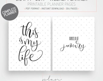 Printable 2017 Planner, 8.5 x 11, Fits Mambi Big, Letter sized, Printable agenda, Weekly planner, 2017 diary, Bullet journal, graph grid