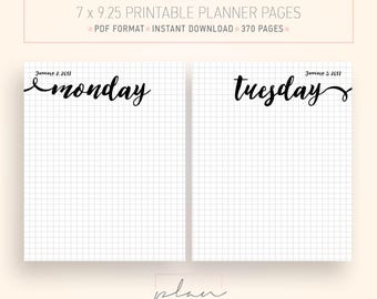 2017 printable planner, Fits Mambi Classic, Daily planner, Fits happy planner, Graph grid, Bullet journal, Daily agenda, Printable agenda