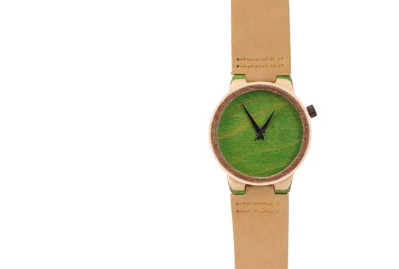 7PLIS watch #20 Recycled SKATEBOARD #madeinfrance yellow brown green wood