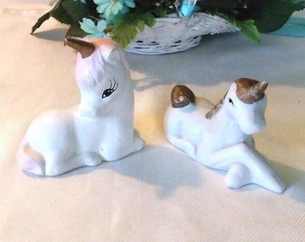 Vintage Small White gold horn Unicorns Male and female porcelain 1980s