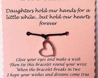 Daughter Wish Bracelet, Friendship Bracelet, Daughter gift, Charm bracelet, Daughter Bracelet, Christmas Gift, Daughter Stocking Filler