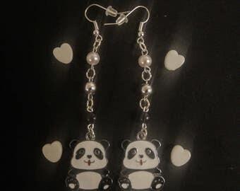 Playful Black & White Beaded Dangle Panda Earrings