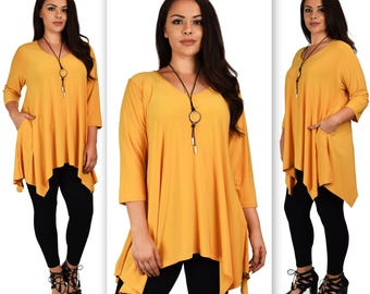 Comfyplus Versatile and oversize lagen look Plus size tunic with side pockets. Fits 1XL/2XL/3XL A