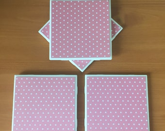 Pink Polka Dot Coasters//Drink Coasters//Tile Coasters//Pink Coasters//Set of 4