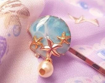 Seashell Bobby Hair Pin (a) - Sweet Lolita Fairy Kei Mermaid Jewelry