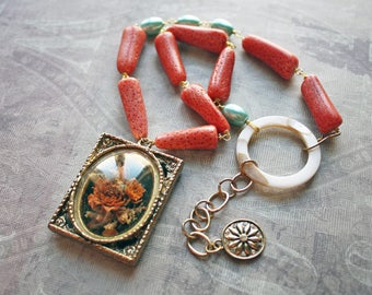 Coral Rose - Assemblage Jewelry, Assemblage Necklace, Upcycled Necklace, Recycled Necklace, Vintage Assemblage, Beaded, Coral, Romantic
