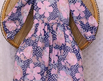 Vintage blue pink hippy flower 70s smock ballon sleeves boho gypsy mini dress S