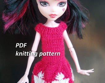 Knitting Patterns For Monster High Dolls : PATTERN - Knitted Monster High Doll Clothes - Monster High Doll Knitting Patt...