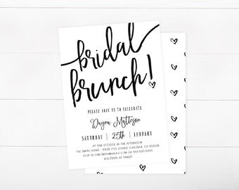 Bridal Shower Brunch Invitation, Simple, Black and White, Hearts  (847)
