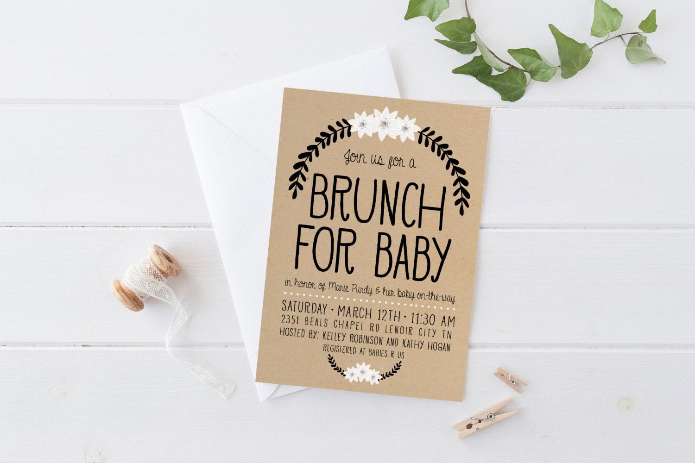 baby shower brunch invitation simple boho by kirrareynadesigns