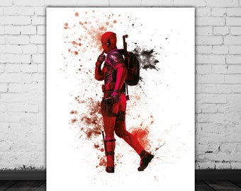 Deadpool Art, Marvel Print, Superhero Art, Movie Wall Art, Watercolor Print, Sci Fi Art, Funny Wall Decor, Red Black Poster, Marvel Wall Art