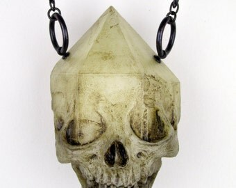 Emergent skull crystal pendant - natural bone finish