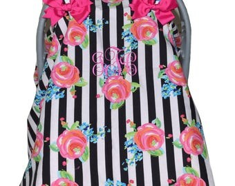 Baby Car Seat Canopy, Floral Car Seat cover, Pink and Black, Monogramed car seat