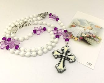 Personalized Rosary. Baptism Rosary. Onyx Gemstone Rosary. White and Purple Rosary. Christening Rosary. Catholic Rosary. Catholic Gift #R147