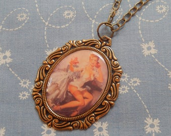 Pin Up Girl On The Telephone Cameo Antique Brass Pendent Necklace