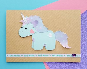 Handmade Unicorn Birthday Card | Personalised Unicorn Card, Cute Unicorn Cards, Kawaii Unicorn Card, Rainbow Unicorn | Cards for Her