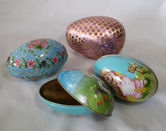 Vintage Decorated Metal Easter Eggs 1980s-90s Perfect for Easter Basket Candy and Gifts