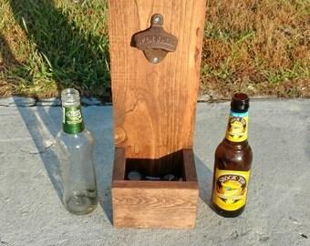 Wood Bottle Opener, Wall Mounted, Groomsmen Gift, Dad Gift, Christmas Gift, Man Cave, Rustic Decor, Beer Bottle Opener, Rustic Decor