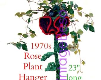 Quick Crochet Rose Plant Hanger CROCHET Pattern Vintage 1970s Unique Rose Flower Plant Hanger Instant Download PdF Pattern