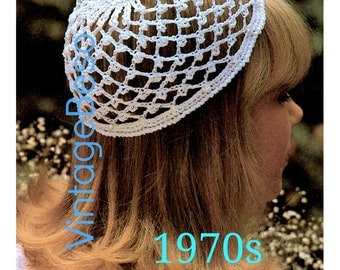 INSTANT DOWNlOAD - PdF Pattern - Vintage 1970s Wedding Cap Crochet PATTERN Juliet Beanie Glass Beads Beanie Crochet Pattern Snood