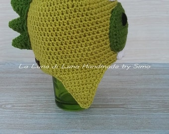 Hat for child or baby dinosaur shaped, hat, knit CAP, beanie, hat dinosaur