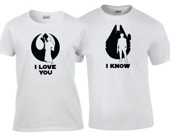 I Love You I Know Han and Leia Star Wars Matching Couples Tee Shirts OR Hoodies Disney Vacation