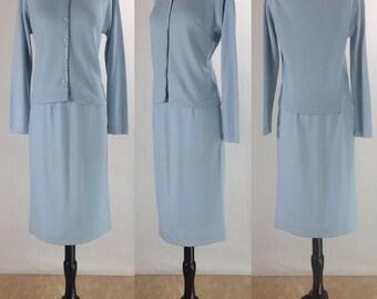 1960's Jantzen Baby Blue Wool Cashmere Knit Cardigan Sweater Set with Matching Belt | Size Medium