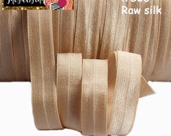 """5/8"""" inch Raw Silk Light Brown-like #826 FOE Fold Over Elastic - Solid Color - By the Yard- Shiny DIY For Headband"""