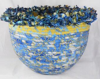 Blue Bristlecone Coiled Fabric Basket
