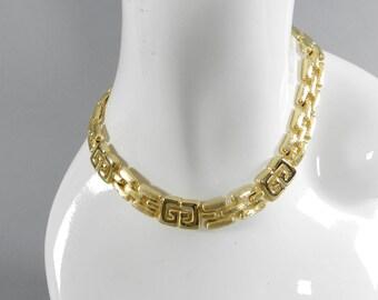 Vintage 1980's Givenchy Gold Metal Logo Choker Necklace