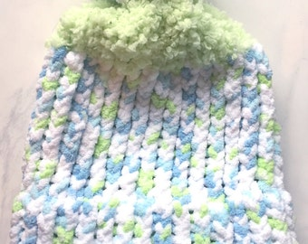 Blue and Green Child Knit Hat, Winter Knitted Hat, Childrens Knit Hat, Toddler Knit Hat, Loom Knit, Pom Pom Hat, Kids Knitted Hat, Kids Hats