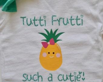Tutti Frutti Such a Cutie! Birthday shirt. Glitter. Personalized.