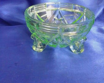 Vintage Green Glass Bowl/Dish, with 3 Feet