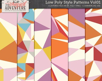 Low Poly, Triangles, Templates, Geometrical Shapes, Editable Layers, Commercial Use OK, Instant Download, Modern Art Digital Scrapbook Paper