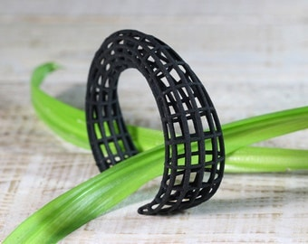 Geometric Bracelet, Black Cuff Bracelet, Geometrical Jewelry, Minimal Bracelet, Parametric Jewelry, Womens Bracelet