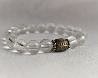Quartz Crystal Gemstone Bracelet - Gemstone Bracelet - Stretch Bracelet - Gold Bracelet - Yoga Bracelet - 10mm Quartz - Gifts for Her