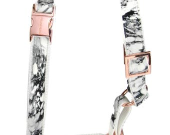 Designer dog harness MARBLE - designer harness white marble with rose gold hardware - copper - matching leash available