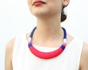 Pink necklace, blue, statement necklace, necklace, deeppink, blue necklace, crochet necklace, colorful necklace, cotton necklace, christmas
