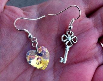 """Key to your heart"" earrings, swarovski heart and key charm, swarovski crystal, key charms, earrings, romantic, romantic, heart key"