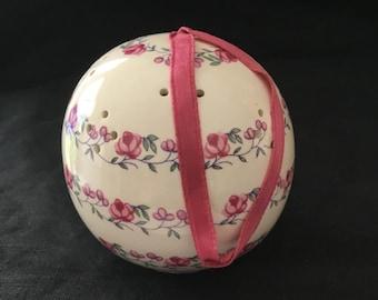 Vintage bone china pomander with hand painted roses, vintage ceramic sachet, air freshener, closet sachet, ceramic air freshener ball