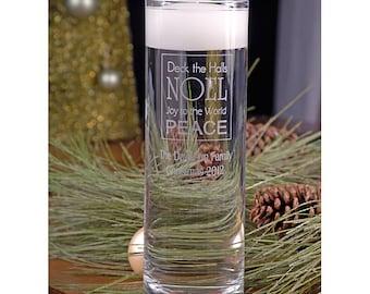 Christmas Floating Candle - Christmas vase - Christmas Cylinder - Engraved Christmas Vase - Holiday Decor - Christmas Decor