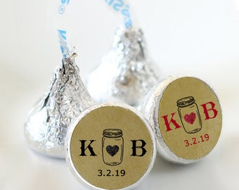 108 Mason Jar Hershey Kiss® Stickers - Hershey Kiss Stickers Wedding - Hershey Kiss Labels - Hershey Kiss Seals - Kraft Brown Stickers