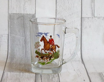 Vintage English Glass Hunting Huntsman and Dogs Tankard