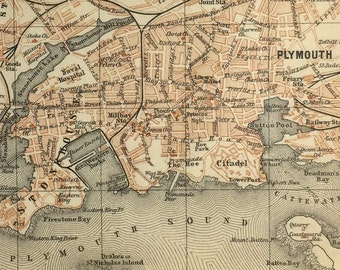 Vintage map of Plymouth (genuine 1901 antique) with option to handcut with custom words