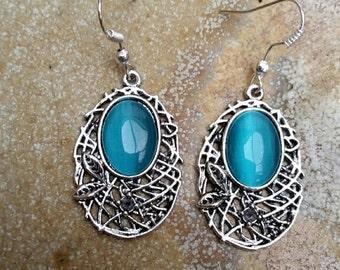 Blue Drop Dangle Earrings, Blue Jewelry, Oval Dangle Earrings, Nickel Free Earrings, Australian Made, Silver Filigree Earrings, Gift for Her