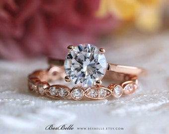 2.46 ct.tw Solitaire Bridal Set Ring-Brilliant Cut Main Stone-Wedding Ring-Anniversary Ring-Rose Gold Plated-Sterling Silver [61353RGM-2]