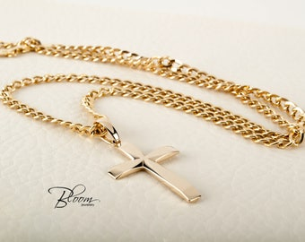 Mens Cross Necklace 14K Solid Gold Cross and Curb Chain Cross Necklace for Men Gold Cross with Chain Necklace for Men Cross Necklace