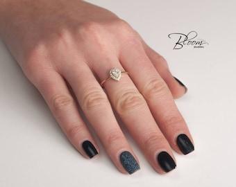 Pear Halo Ring 14K Solid Gold Diamond Simulants Ring Pave Wedding Ring Promice Ring BloomDiamonds